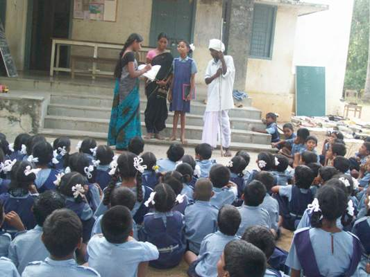 Students performing the play