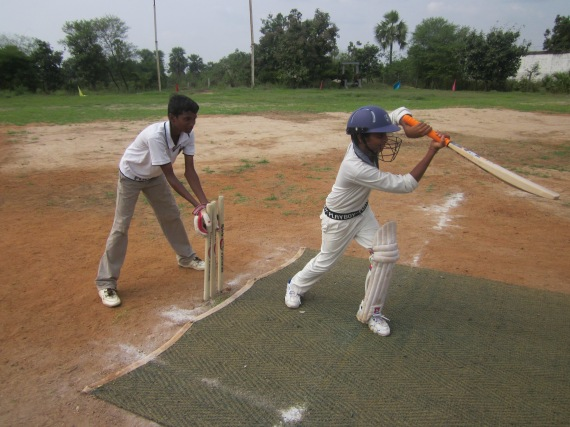 Students during a cricket match
