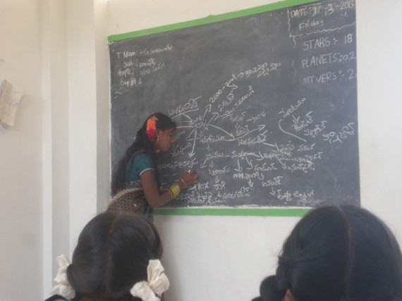 A student teaching the class
