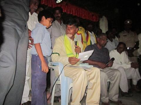 The ex-CM of Andhra Pradesh with RDF Kalleda Student Anil