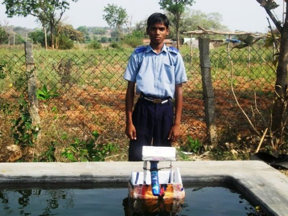 P. Saikiran with his invention
