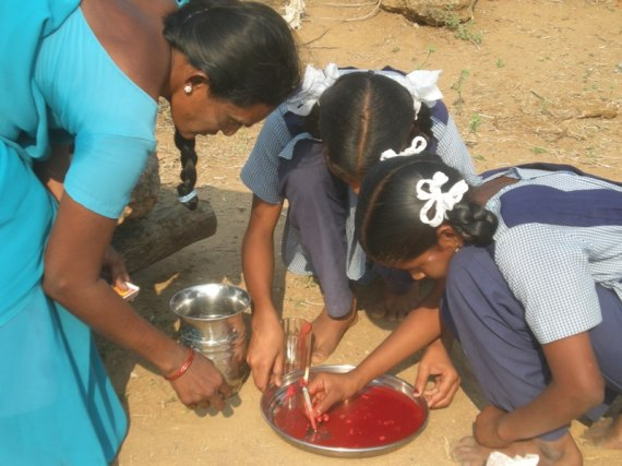 Students conducting the experiment