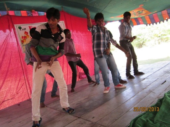 Students performing at the party