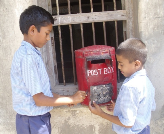 Students using the post box