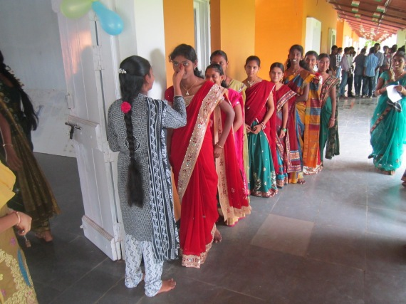 Students getting a traditional welcome at the Junior College campus