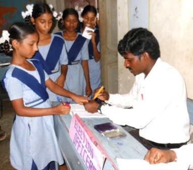 Students casting their vote