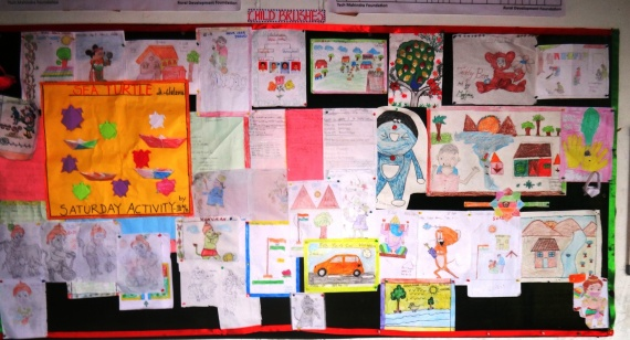 Finished pictures displayed on the school board