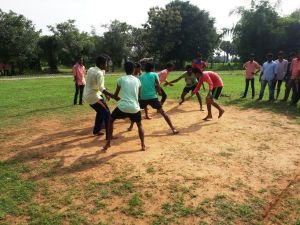 Students playing Kabaddi