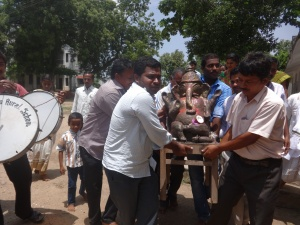 The Ganesha being taken for immersion